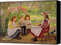 Reading Painting Canvas Prints - Lesson in the Garden Canvas Print by Ada Shirley Fox