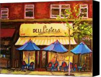 City Streets Canvas Prints - Lesters Cafe Canvas Print by Carole Spandau