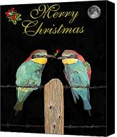 Card Sculpture Canvas Prints - Lesvos Christmas Birds Canvas Print by Eric Kempson