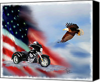 Flag Mixed Media Canvas Prints - Let Freedom Ride Canvas Print by Colleen Taylor