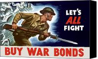 World War I Digital Art Canvas Prints - Lets All Fight Buy War Bonds Canvas Print by War Is Hell Store