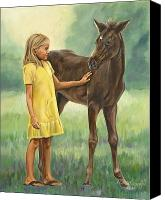 Foal Painting Canvas Prints - Lets be Friends Canvas Print by Bob Wilson