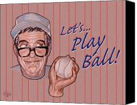 Sports Drawings Canvas Prints - Lets Play Ball Canvas Print by Dia T