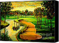 Palm Trees Pastels Canvas Prints - Lets Play Golf Canvas Print by Patricia L Davidson 