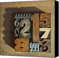Number 7 Canvas Prints - Letterpress Numbers Canvas Print by Daryl Benson