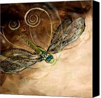 Dragonfly Art Canvas Prints - Libellule et Foi Abstrait Canvas Print by J Vincent Scarpace