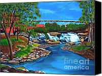 City Of Bridges Painting Canvas Prints - Liberty Bridge at Falls Park Canvas Print by Andrew Wells