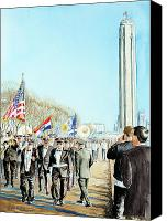Parade Painting Canvas Prints - Liberty Memorial KC Veterans Day 2001 Canvas Print by Carolyn Coffey Wallace