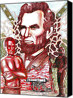 Abe Lincoln Drawings Canvas Prints - Liberty Red Canvas Print by Jamie Jonas