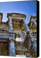 Turkey Photo Canvas Prints - Library of Celsus Canvas Print by David Smith