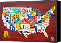 Transportation Mixed Media Canvas Prints - License Plate Map of The United States - Midsize Canvas Print by Design Turnpike
