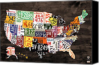 Transportation Mixed Media Canvas Prints - License Plate Map of The United States - Warm Colors / Black Edition Canvas Print by Design Turnpike
