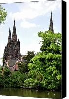 England Canvas Prints - Lichfield Cathedral from Minster Pool Canvas Print by Rod Johnson