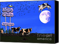 Cow Mixed Media Canvas Prints - Life At The Old Milk Farm Restaurant After The Lights Went Out For The Last Time In 1986 Canvas Print by Wingsdomain Art and Photography