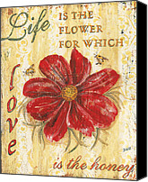 Bee Canvas Prints - Life is the Flower Canvas Print by Debbie DeWitt
