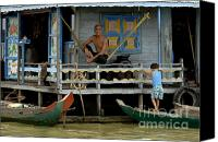 Sap Canvas Prints - Life On Lake Tonle Sap 8 Canvas Print by Bob Christopher