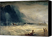 Shipwreck Painting Canvas Prints - Lifeboat and Manby Apparatus going off to a stranded vessel making signal of distress Canvas Print by Joseph Mallord William Turner