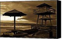 Tables Canvas Prints - Lifeguard Tower of Yesteryear Canvas Print by DigiArt Diaries by Vicky Browning