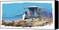 Beach Scenes Digital Art Canvas Prints - Lifeguard Tower Ventura California Canvas Print by RG McMahon