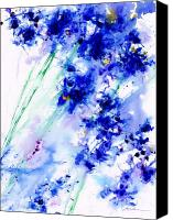 Blue Flowers Painting Canvas Prints - Lifes Drama Blue Canvas Print by Jerome Lawrence