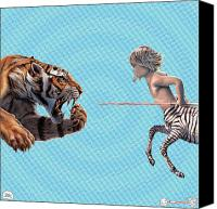 Featured Drawings Canvas Prints - Liger  Swift Hand Canvas Print by David Starr
