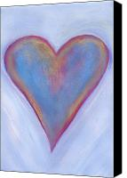 Hearts Canvas Prints - Light Blue Heart Canvas Print by Samantha Lockwood