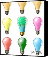 Equipment Canvas Prints - Light bulbs of a different color Canvas Print by Bob Orsillo