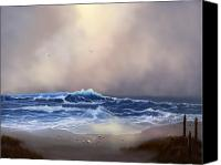 Beach Scenes Digital Art Canvas Prints - Light in the Storm Canvas Print by Sena Wilson