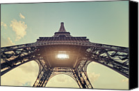 Ile De France Canvas Prints - Light Shining Through Eiffel Tower Canvas Print by Philipp Klinger