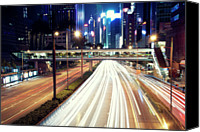 Modern Landscape Canvas Prints - Light Trails At Traffic On Street At Night Canvas Print by Thank you for choosing my work.