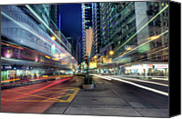 Long Street Canvas Prints - Light Trails On Street At Night Canvas Print by Thank you for choosing my work.