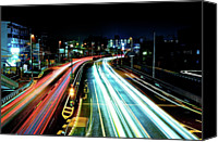 Road Travel Canvas Prints - Light Trails Canvas Print by Photo by ball1515