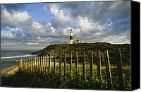 Fences Canvas Prints - Lighthouse At Montauk With Dramatic Sky Canvas Print by Skip Brown