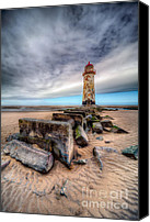 Wales Canvas Prints - Lighthouse at Talacre  Canvas Print by Adrian Evans