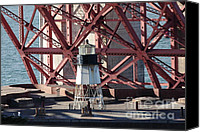 Frisco Canvas Prints - Lighthouse Atop Fort Point Next To The San Francisco Golden Gate Bridge - 5D19001 Canvas Print by Wingsdomain Art and Photography