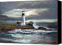 Landscape Painting Canvas Prints - Lighthouse Beam of hope Canvas Print by Gina Femrite