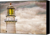 Nautical Canvas Prints - Lighthouse Cape Elizabeth Maine Canvas Print by Bob Orsillo
