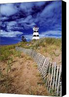 Sand Fences Canvas Prints - Lighthouse, Cedar Dunes Provincial Canvas Print by David Nunuk