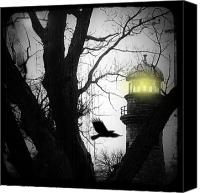 Watchtower Canvas Prints - Lighthouse Canvas Print by Gothicolors With Crows