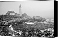 Williams Canvas Prints - Lighthouse in the fog - black and white Canvas Print by Hideaki Sakurai