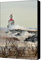 Lighthouse Pyrography Canvas Prints - Lighthouse in the storm Canvas Print by Whispering Feather Gallery