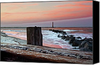 Beach Photograph Canvas Prints - Lighthouse Jetties Canvas Print by Drew Castelhano