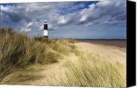 Ocean Front Landscape Canvas Prints - Lighthouse On Beach, Humberside, England Canvas Print by John Short