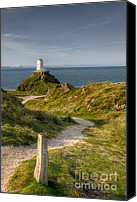 Wales Digital Art Canvas Prints - Lighthouse Twr Mawr Canvas Print by Adrian Evans