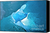 Cavern Canvas Prints - Lighting in nigardsbreen glacier grotto 2 Canvas Print by Heiko Koehrer-Wagner