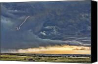 Angry Sky Canvas Prints - Lighting Strikes  Canvas Print by Daphne Sampson