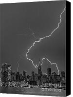 The City That Never Sleeps Canvas Prints - Lightning Bolts Over New York City BW Canvas Print by Susan Candelario