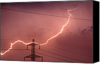 Cable Canvas Prints - Lightning Hitting An Electricity Pylon Canvas Print by Peter Lawson