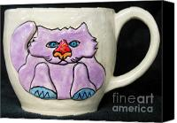 Wheel Thrown Canvas Prints - Lightning Nose Kitty Mug Canvas Print by Joyce Jackson