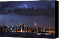 Manhattan Canvas Prints - Lightning Over New York City I Canvas Print by Clarence Holmes